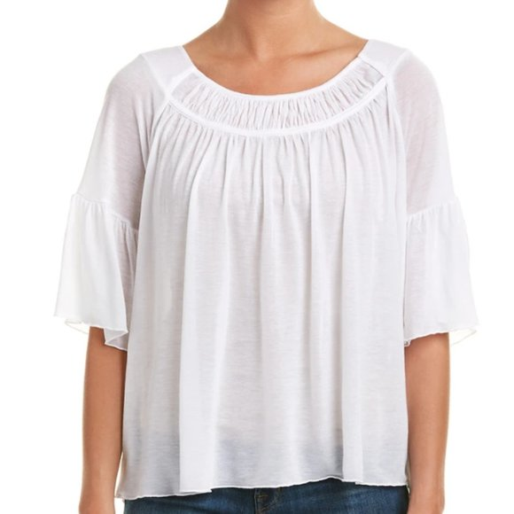 Three Dots Swing Top White 3/4 Sleeve Size Large